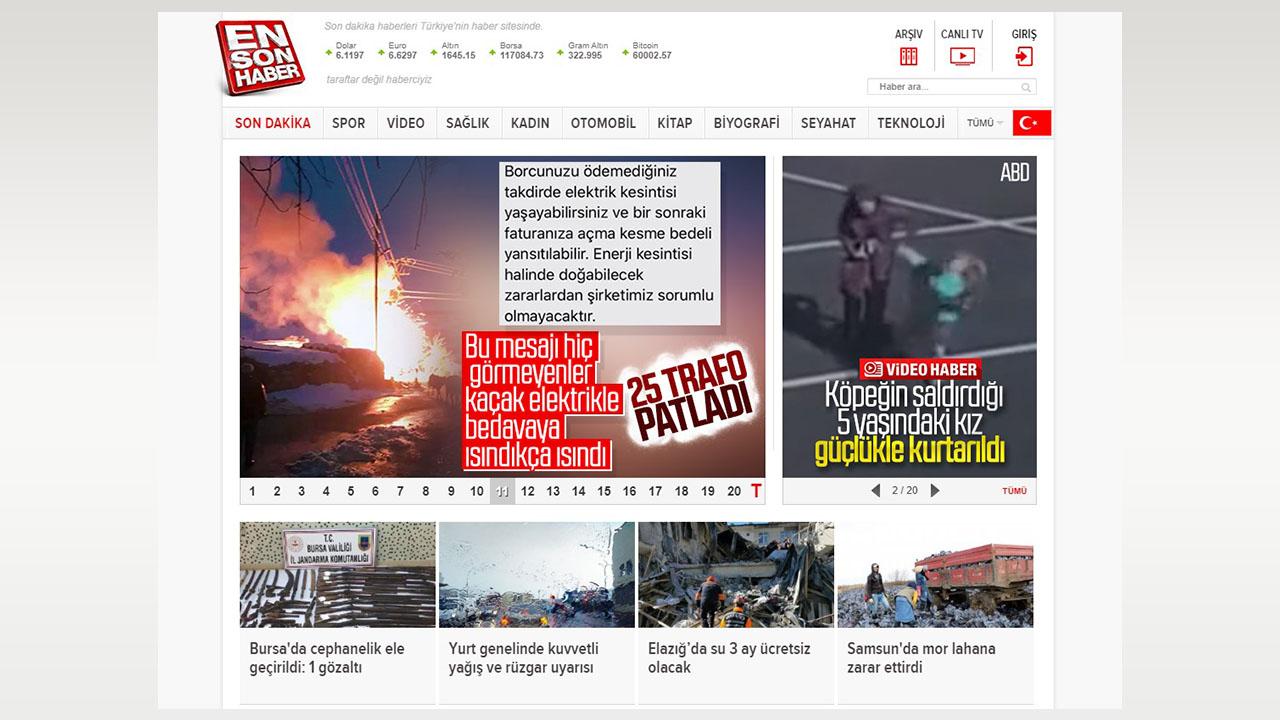 ensonhaber.com internet sitesi