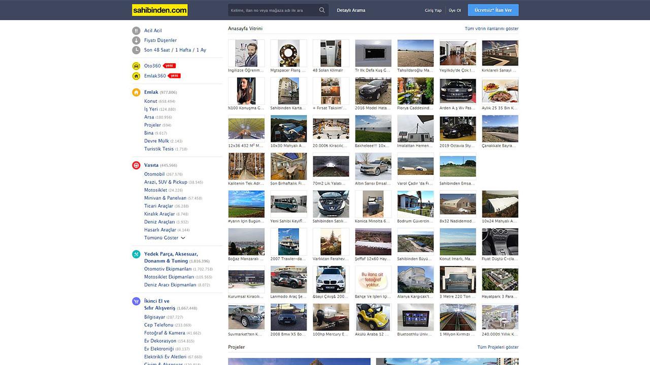 sahibinden.com internet sitesi