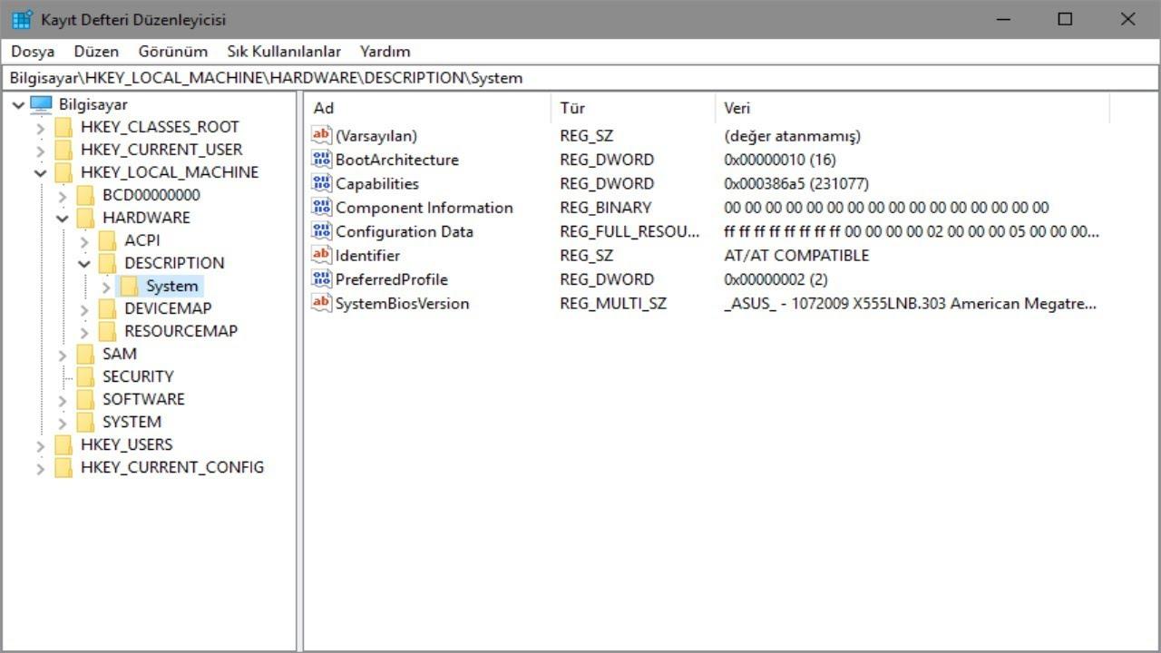 windows kayıt defteri