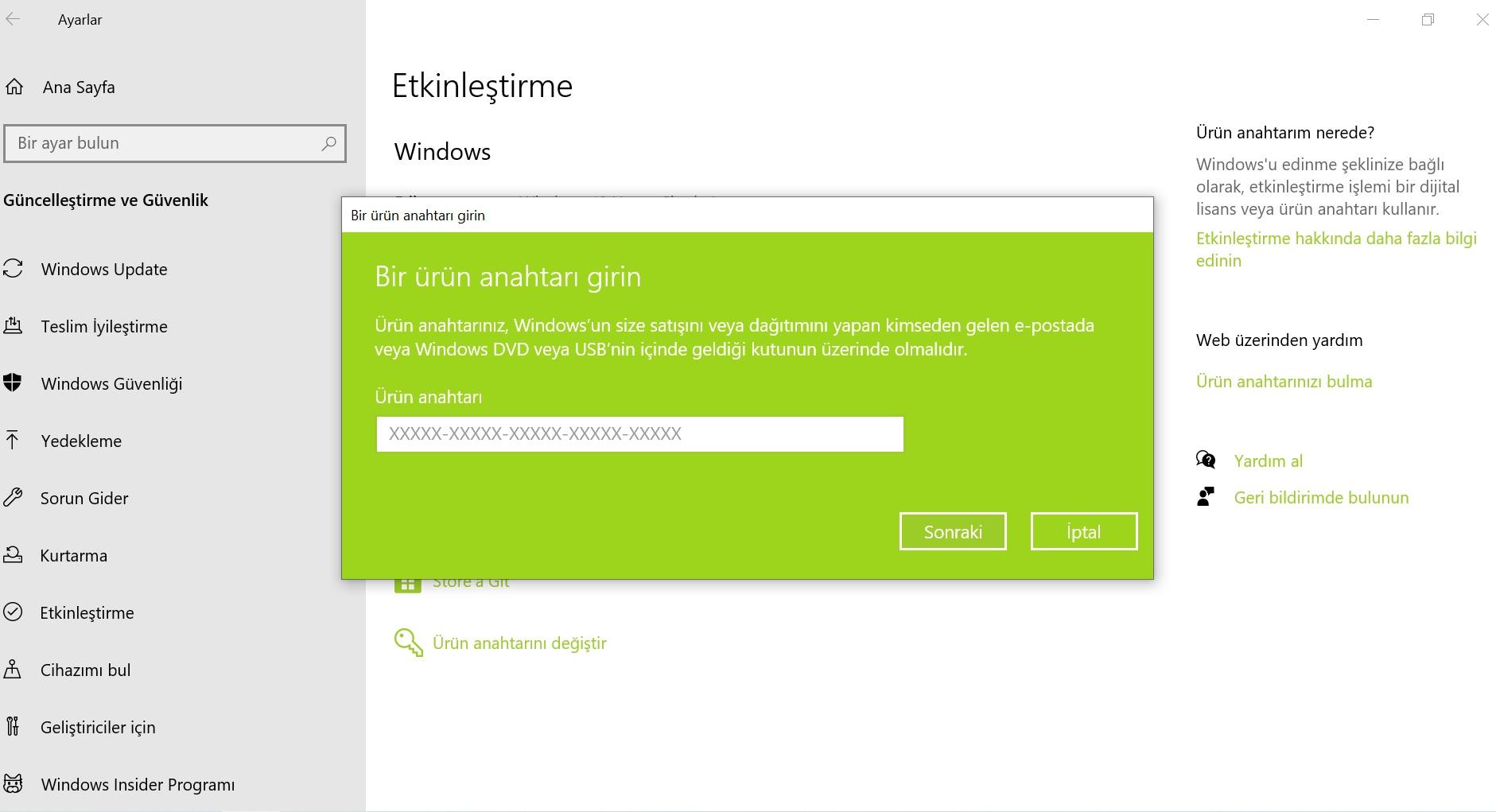 windows ürün anahtarı