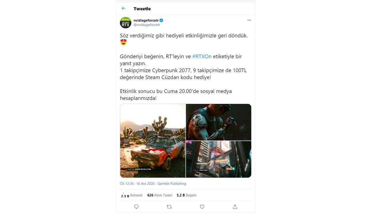 NVIDIA Türkiye Cyberpunk 2077 kampanyası