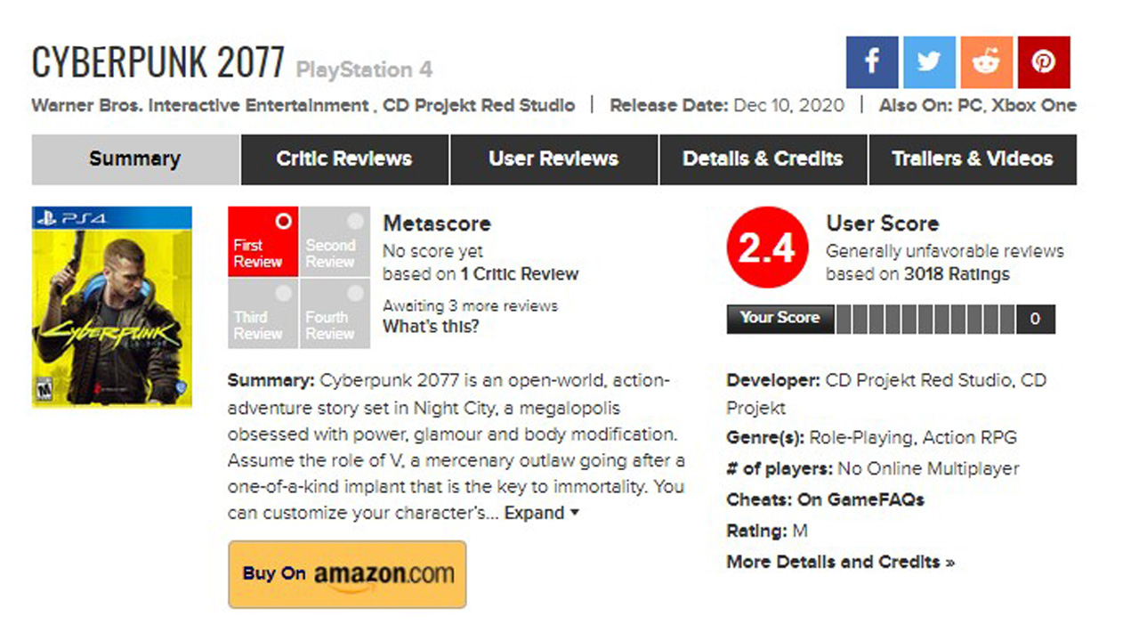 Cyberpunk 2077 Metacritic PS4
