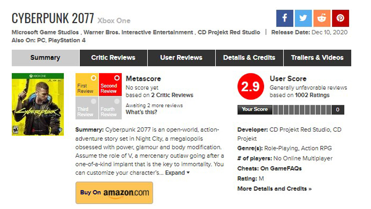 Cyberpunk 2077 Metacritic Xbox One