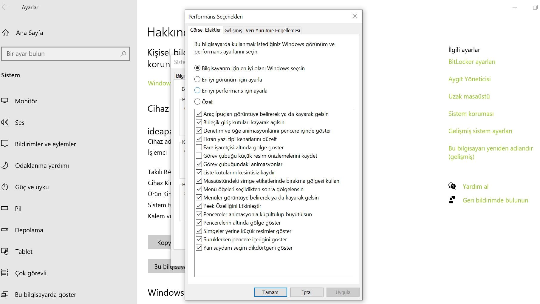 windows performans seçenekleri
