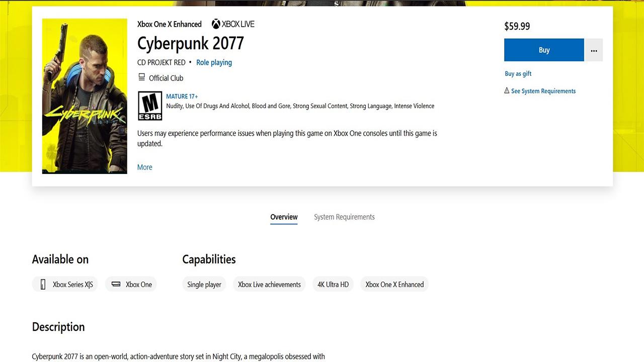 cyberpunk 2077 xbox ingilizce mağaza sayfası