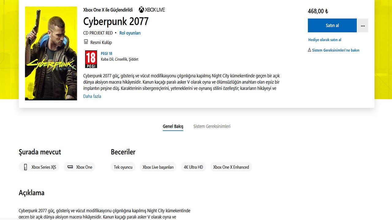 cyberpunk 2077 xbox Türkçe mağaza sayfası