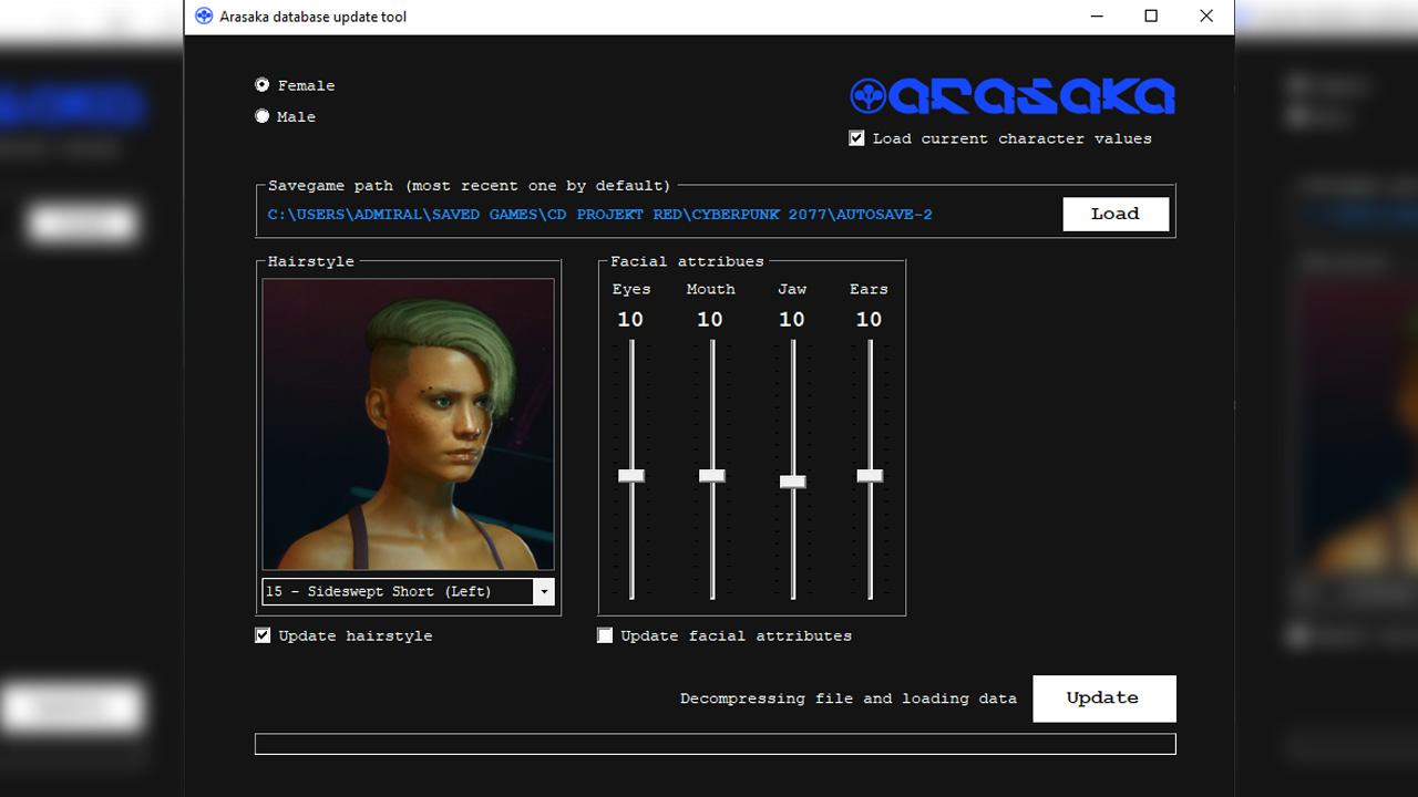 arasaka appearance updater, cyberpunk 2077 saç değiştirme modu