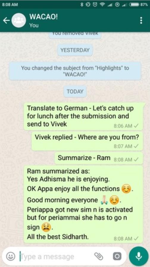 whatsapp sohbeti okuma