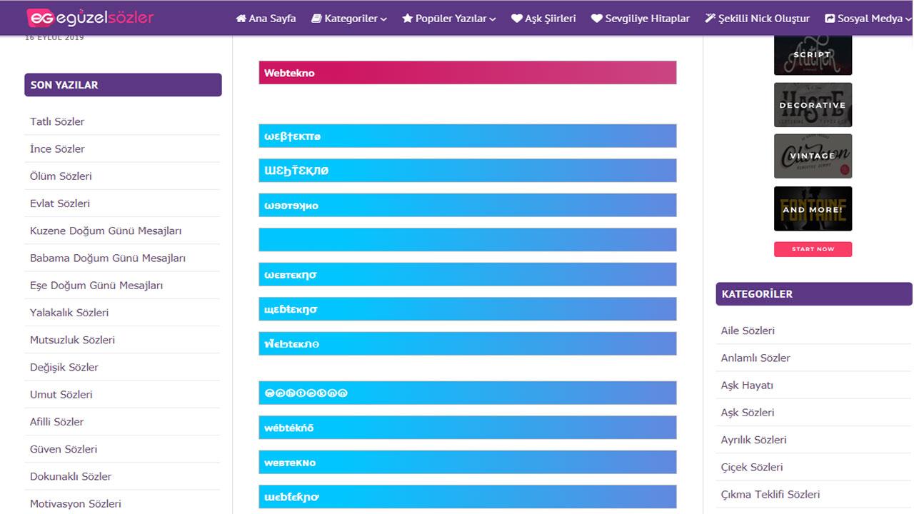 Formlu Şukullu Nick Oluşturabileceğiniz 9 İnternet Sitesi