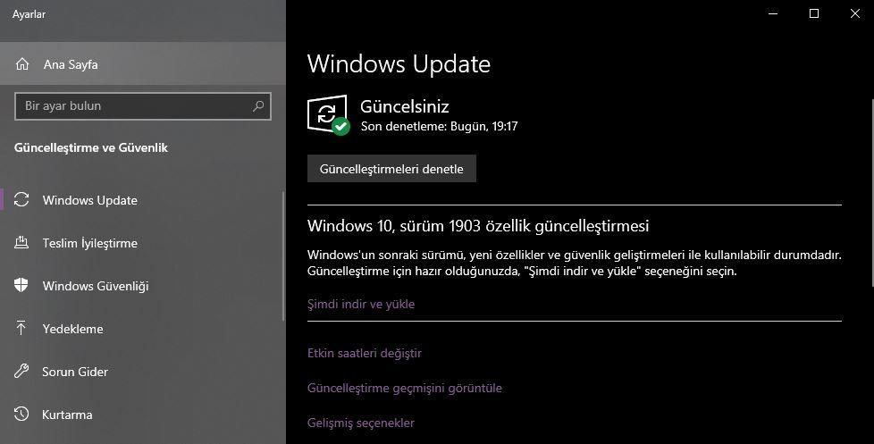 windows 1803 güncelleme