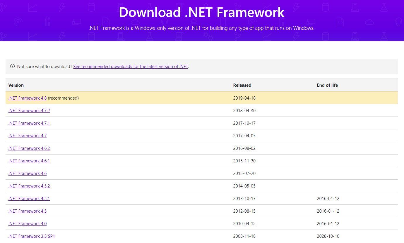 .net framework son sürüm indir