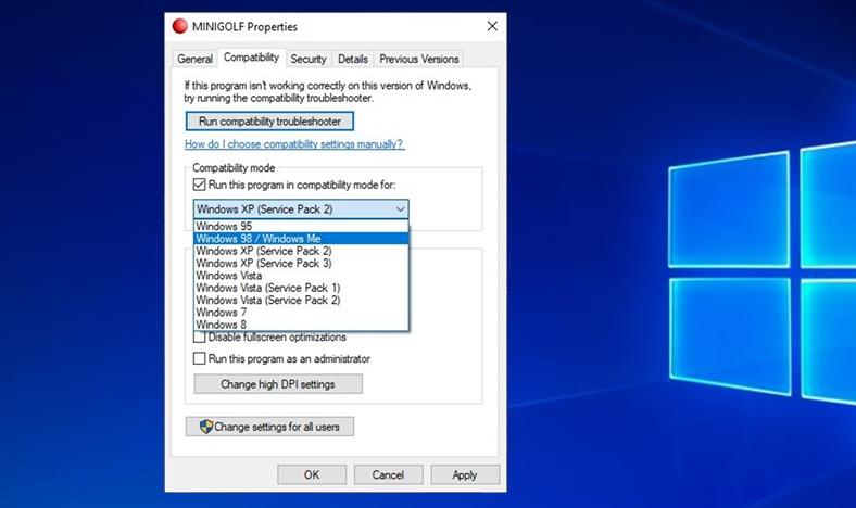 windows uyumluluk modu