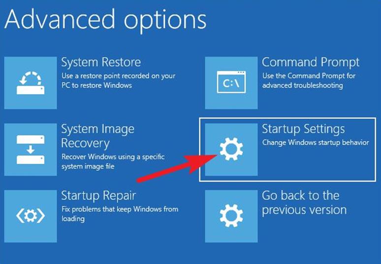 windows gelişmiş seçenekler