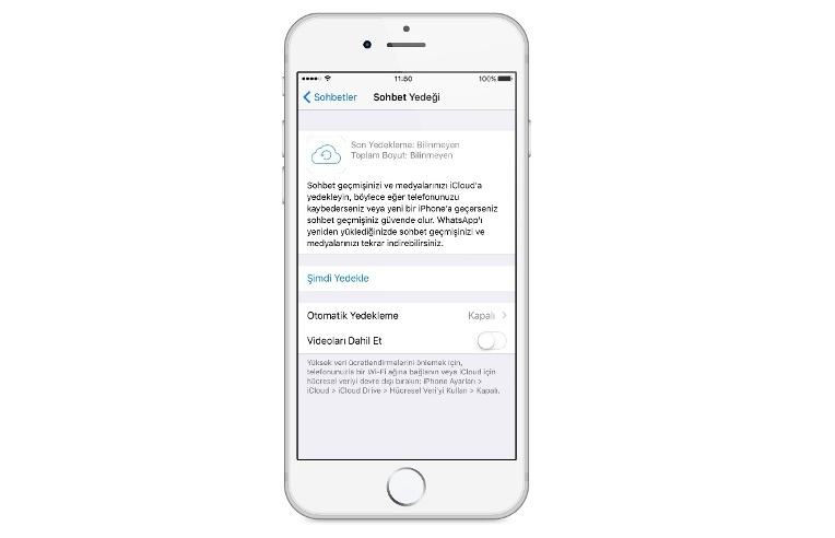 WhatsApp sohbet geçmişi geri yükleme iOS