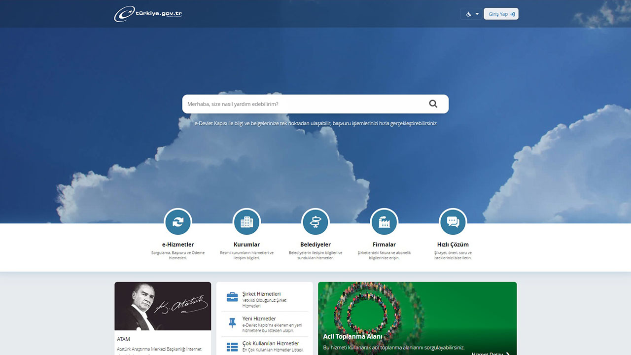 turkiye.gov.tr e devlet sitesi