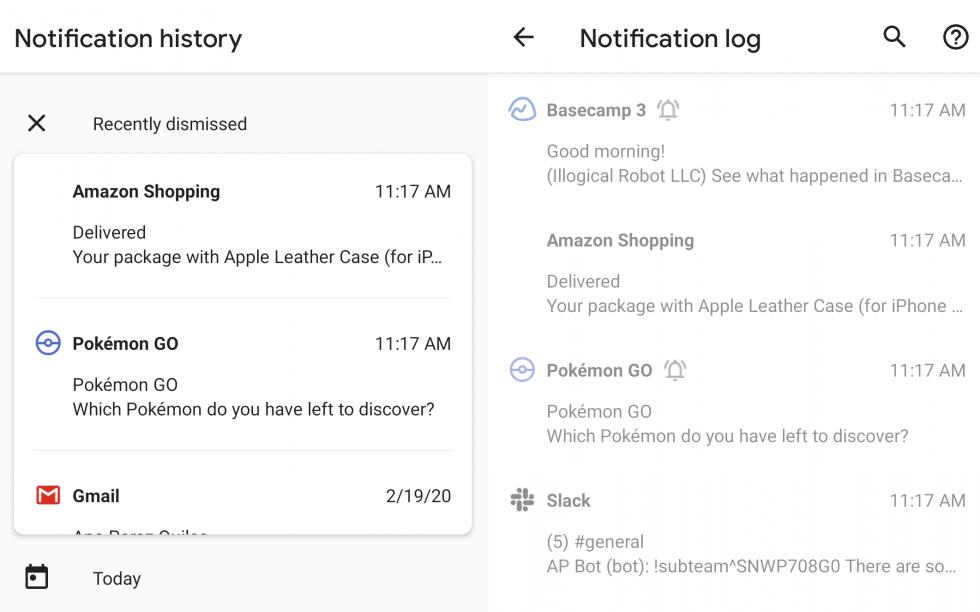 Android 11 bildirim geçmişi