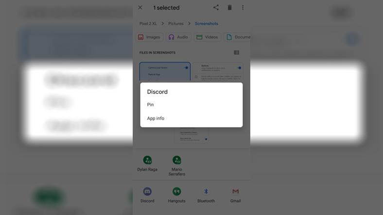 Android 11 paylaşım menüsü