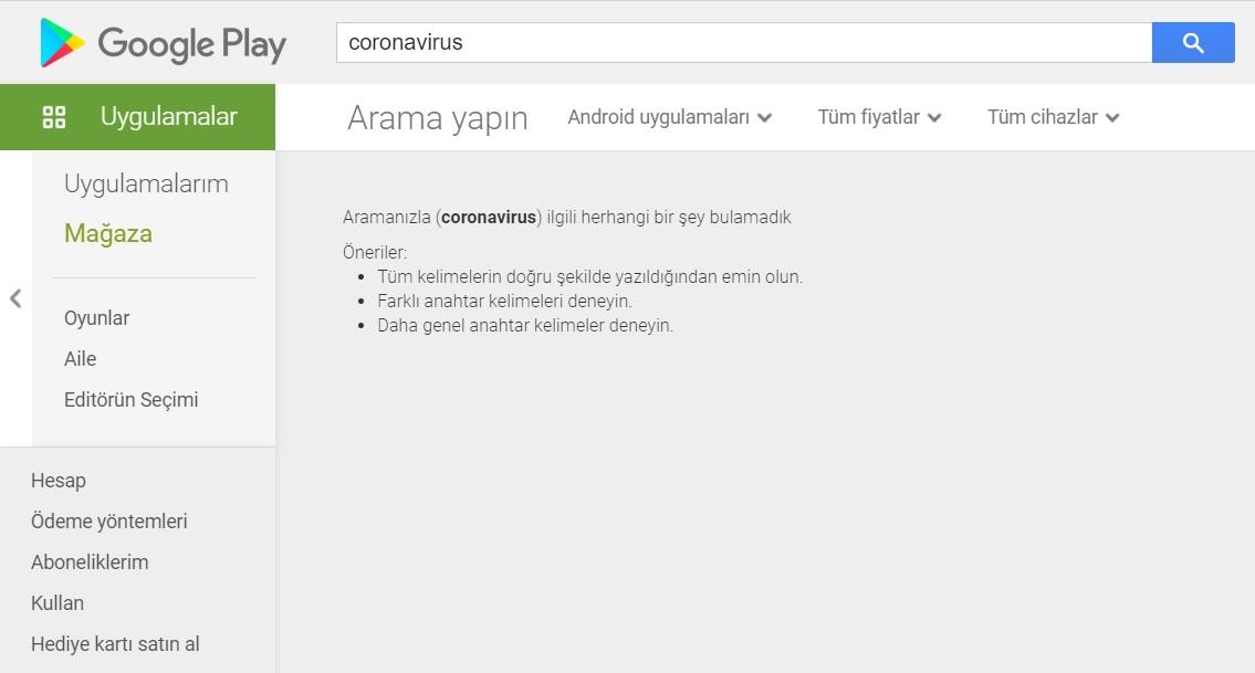 coronavirus google play store