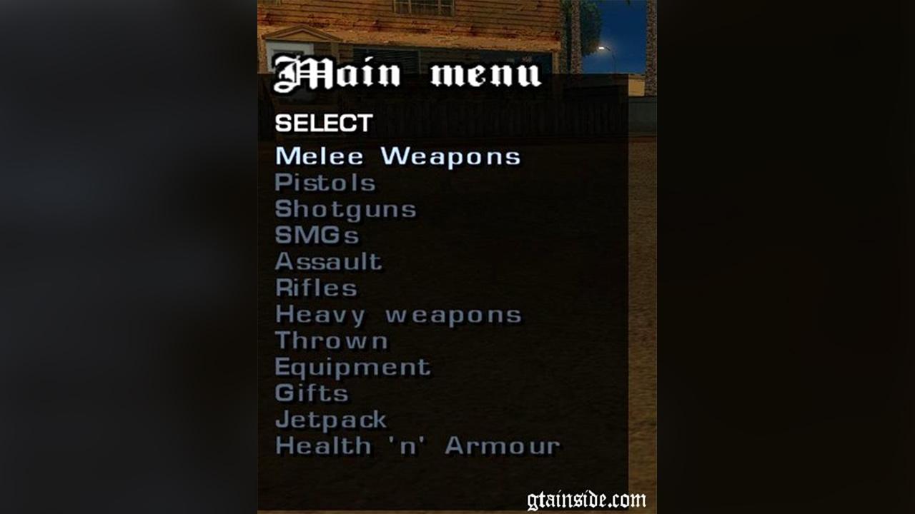 Weapon Menu