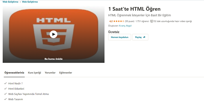 html eğitim seti