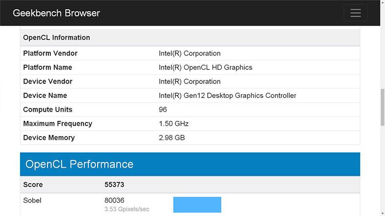 Intel Xe Gen12 Geekbench sonuçları