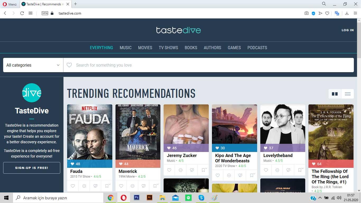 tastedive.com ile en sevdiğin filme benzeyen filmleri bul