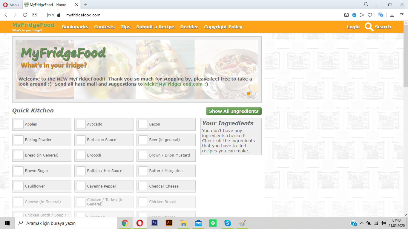myfridgefood ile dolaptakilerden yemek listesi oluştur