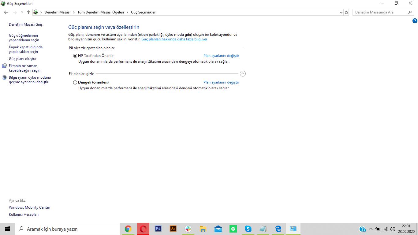Windows 10 güç ayarlarını değiştirme