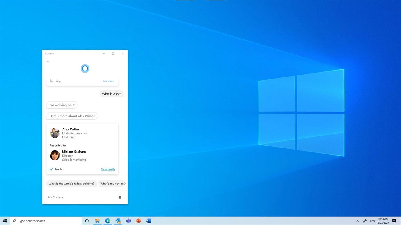 Cortana ekran görüntüsü
