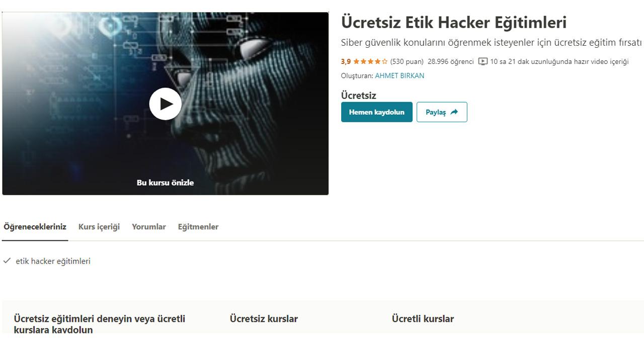 ücretsiz etik hacker eğitimleri