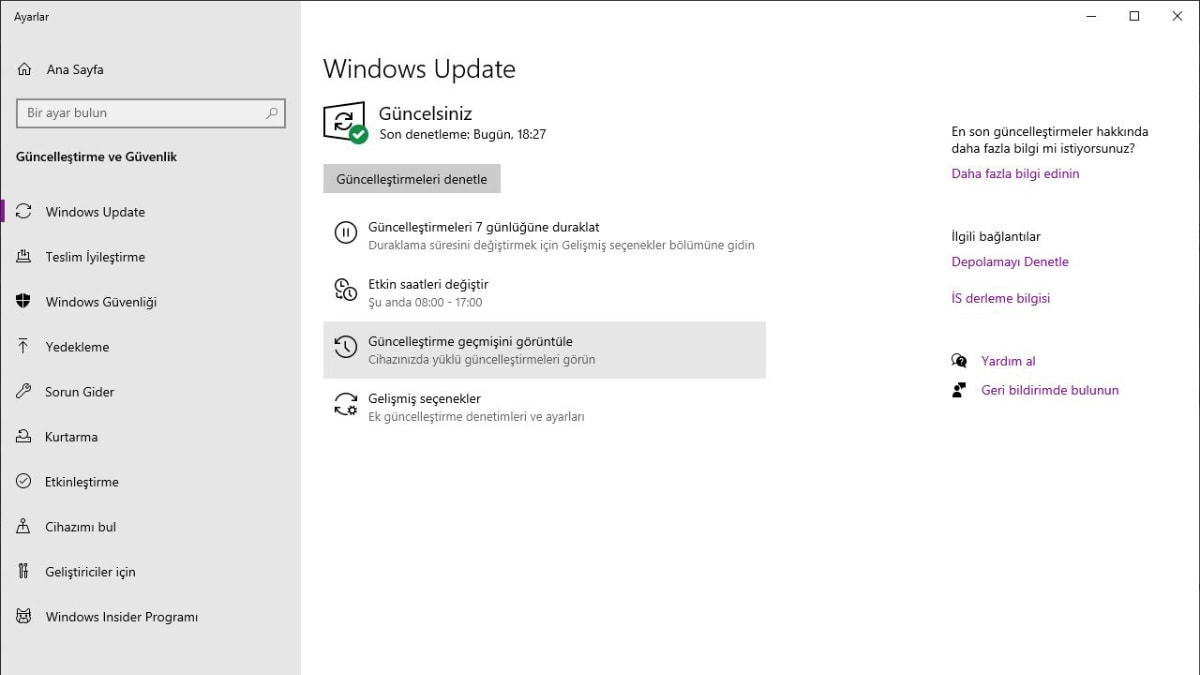windows 10 güncelleştirme ekranı