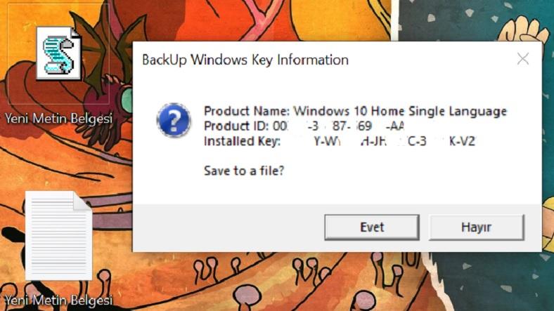 Windows 10 ürün anahtarı