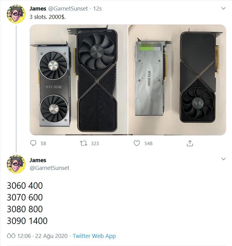 nvidia rtx 3000 serisi fiyatlandırma sızıntı, nvidia rtx 3000 serisi fiyatlandırma tweet