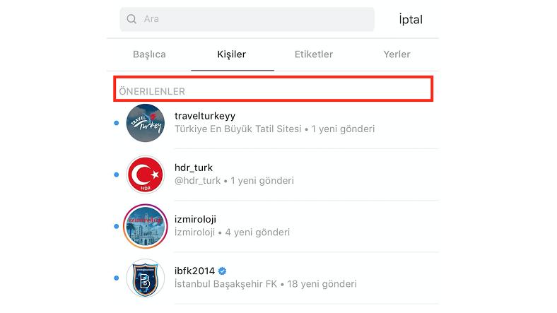 instagram arama geçmişi, öneriler