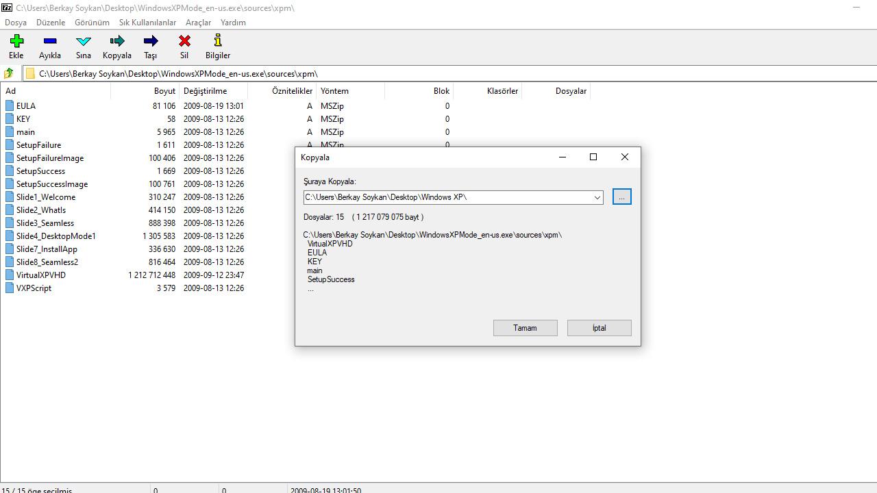 7-Zip dosya ayıklama