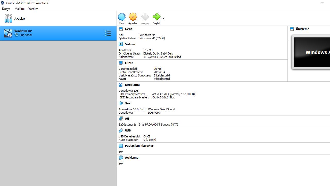 windows xp sanal makine oluştur