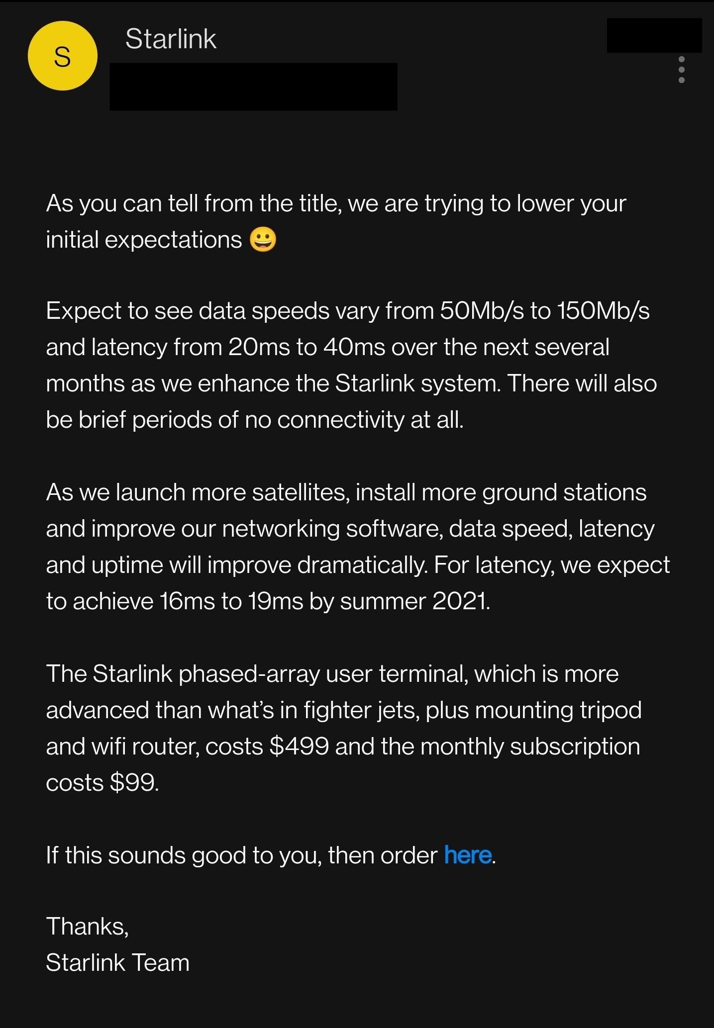 starlink beta test internet hızı e-posta uyarısı