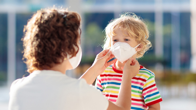masked child boy wearing mask Coronavirus