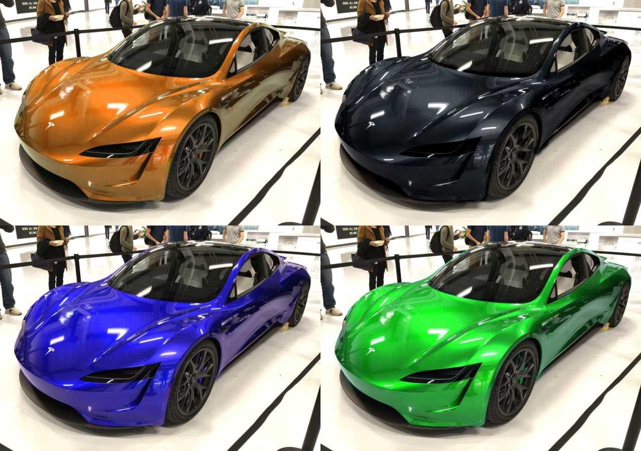 yeni tesla roadster renkler
