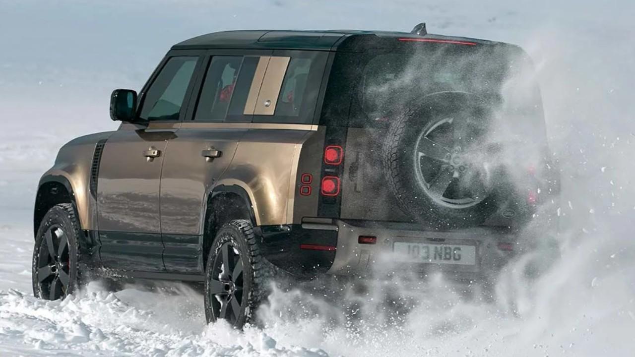 land rover defender karlı yol