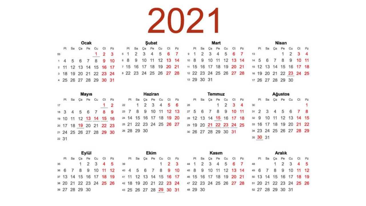 2021 takvim
