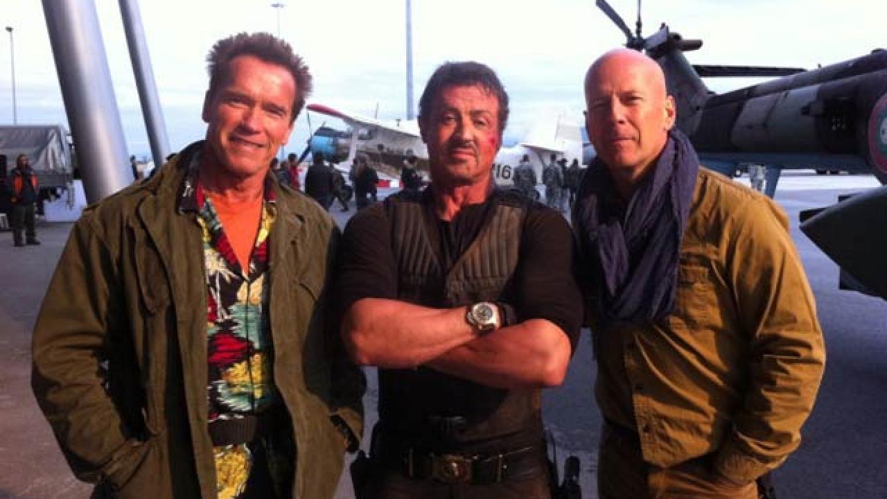 Sylvester Stallone, Arnold Schwarzenegger, Bruce Willis