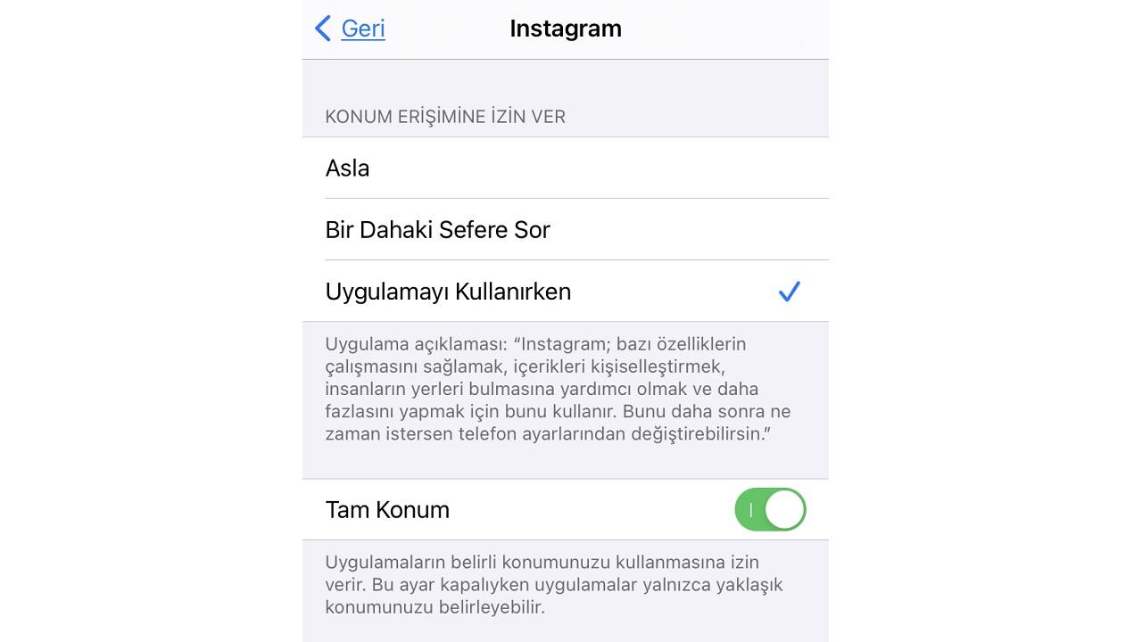 instagram konum izinleri
