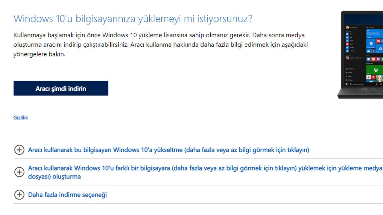 windows kurulum aracı indirme