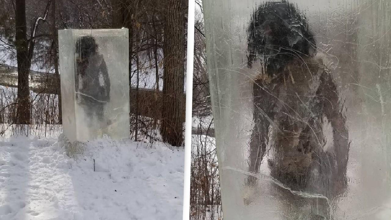 buzdan mağara adamı heykeli