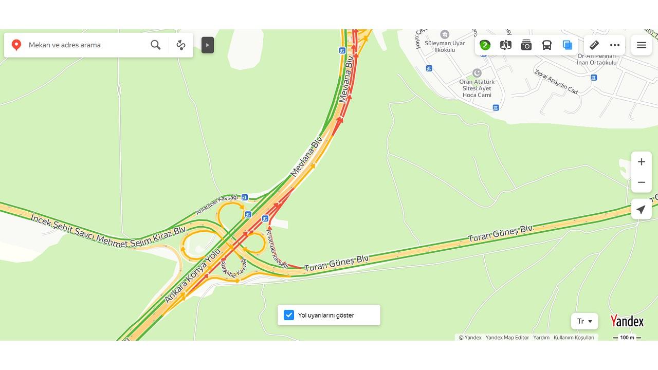 yandex haritalar, trafik bilgisi