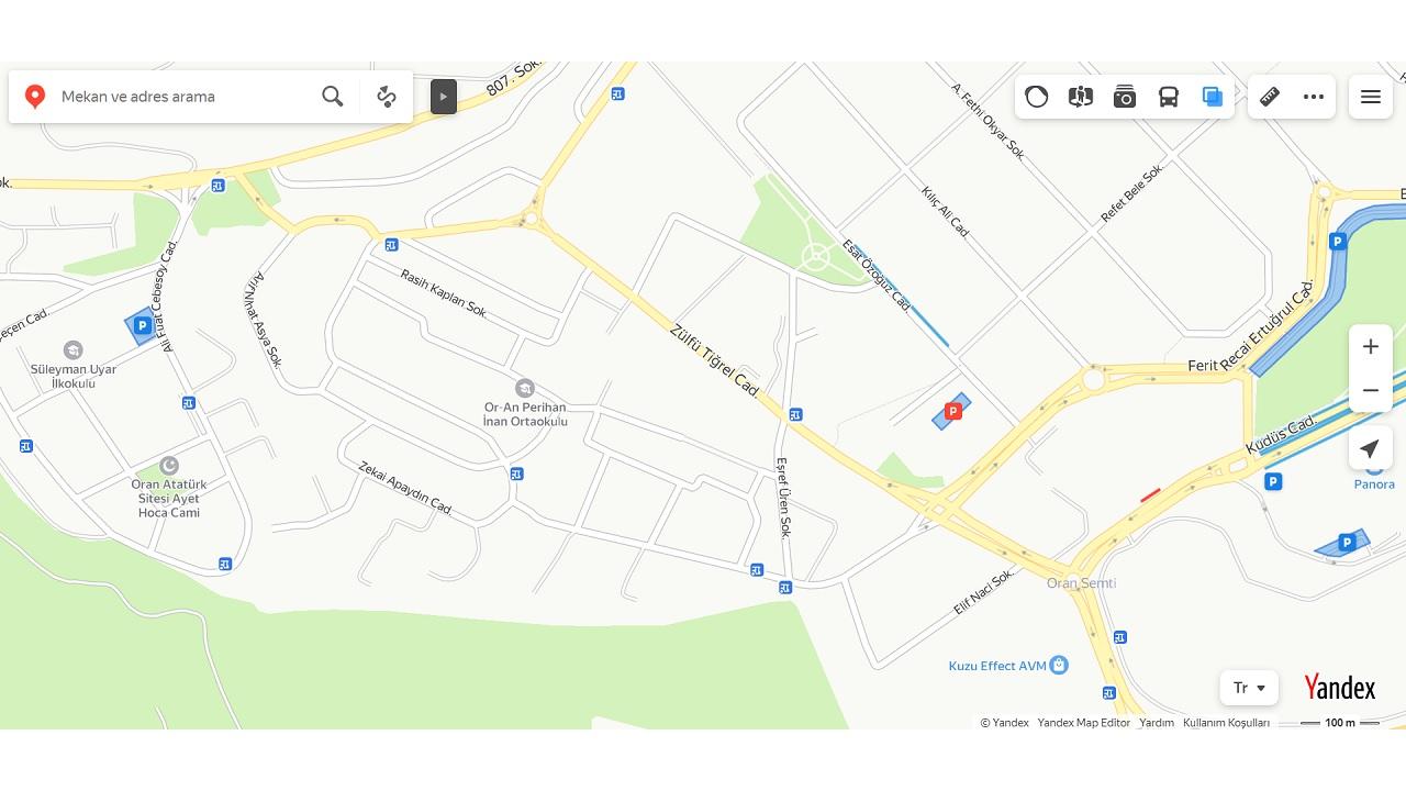 yandex haritalar, park yerleri