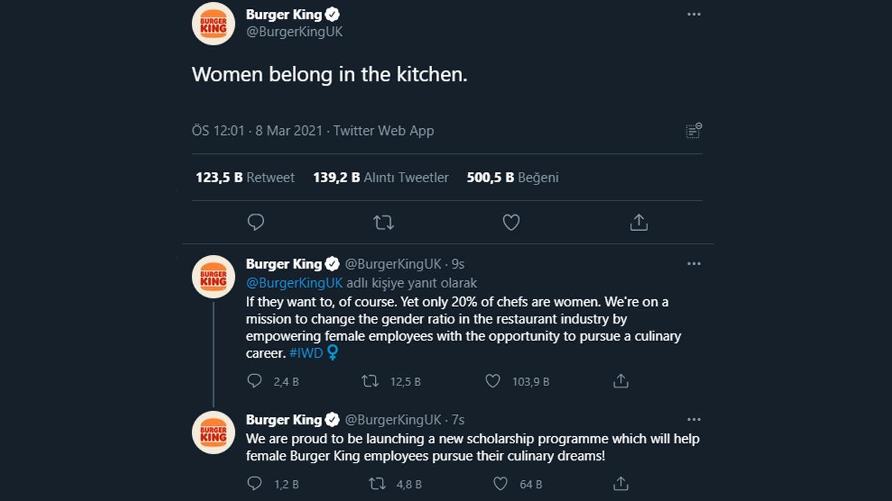 Burger King 8 Mart paylaşımı