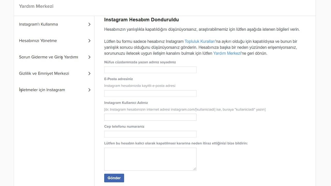 instagram hesabının bərpası əlildir