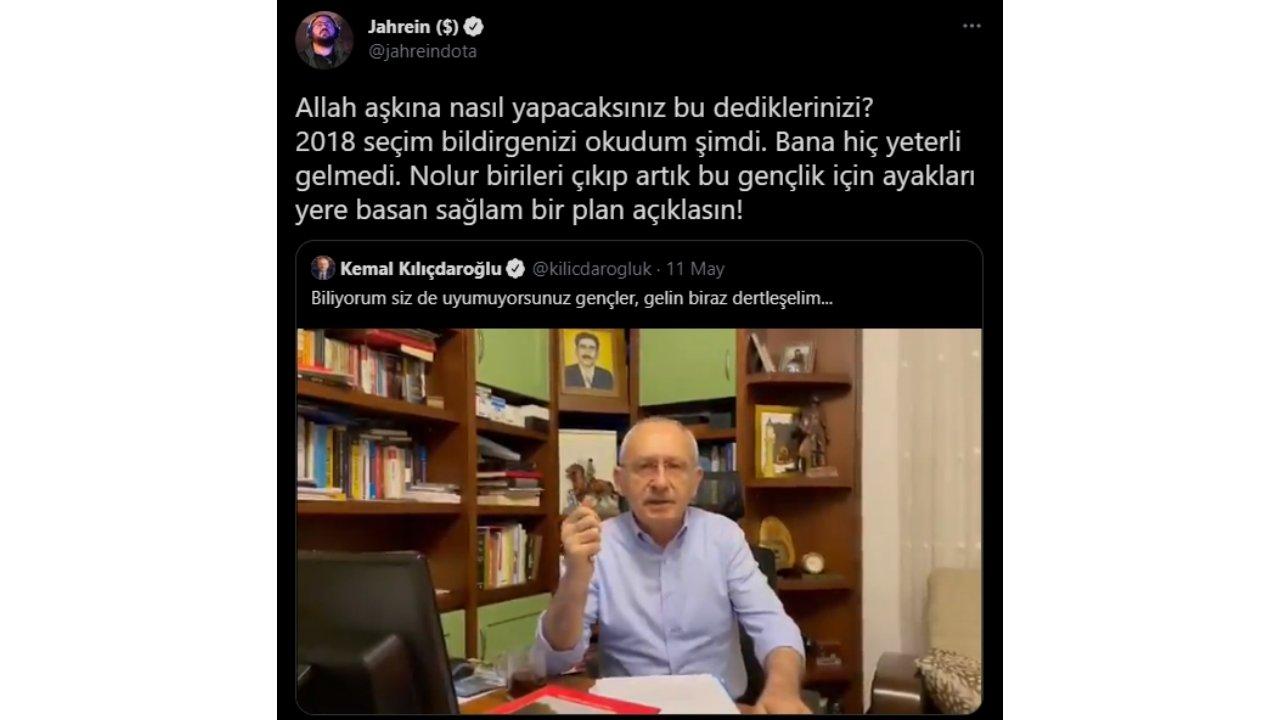 jahrein kemal kılıçdaroğlu tweet